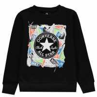 Converse Chuck Sweater Junior Boys Black Детски горнища и пуловери