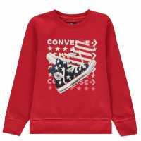 Converse Am Crew Sweater Red Детски горнища и пуловери