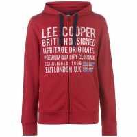 Lee Cooper Мъжки Суитшърт С Цип Zip Hoody Mens Vintage Red Мъжки полар