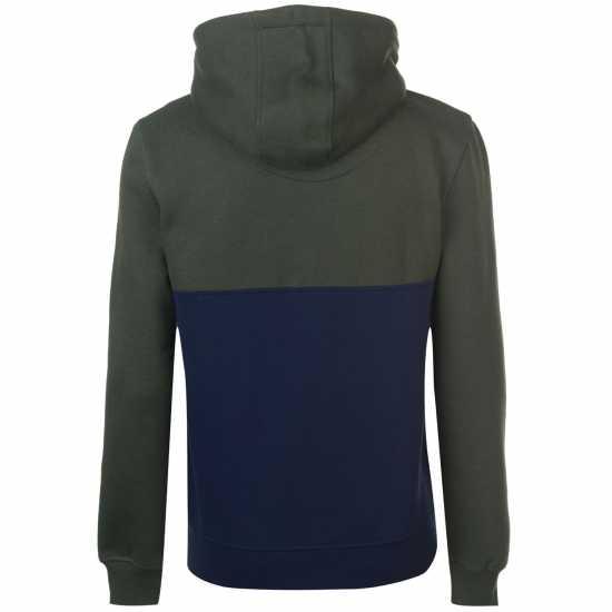 Soulcal Colour Block Zip Hoodie Mens Khaki/Navy Мъжки полар