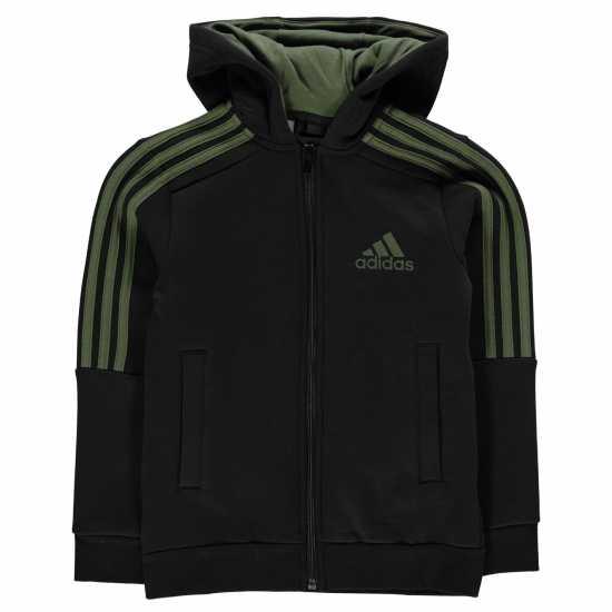 Adidas Детска Блуза С Качулка 3S Logo Full Zip Hoody Junior Boys Black/Green Детски суитчъри и блузи с качулки