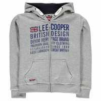 Lee Cooper London Zip Hoodie Junior Boys Grey Marl Детски суитчъри и блузи с качулки
