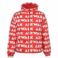 Airwalk Подплатено Мъжко Яке Padded Jacket Mens Red/White Мъжки полар