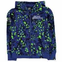 No Fear Детски Момчешки Суитшърт Fz Hoody Junior Boys Blue/Green Детски суитчъри и блузи с качулки