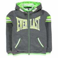 Everlast Детски Момчешки Суитшърт Large Logo Zip Hoody Junior Boys Charcoal Marl Детски суитчъри и блузи с качулки