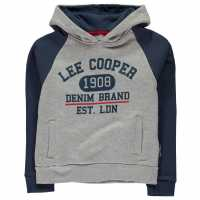 Lee Cooper Over The Head Hoodie Junior Boys Grey M/Denim Детски суитчъри и блузи с качулки