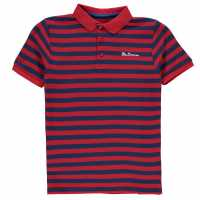 Ben Sherman Раирана Поло Риза Pique Strip Polo Shirt Red Мъжки тениски с яка