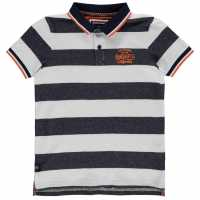 Soulcal Детска Блуза С Яка Stripe Polo Shirt Junior Boys Navy/White Детски тениски тип поло