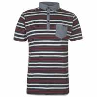 Lee Cooper Мъжко Поло На Ивици Stripe Polo Mens Navy/Wht/Red Мъжки тениски с яка
