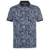 Pierre Cardin Мъжка Блуза С Яка Paisley Polo Shirt Mens Navy Мъжки тениски с яка