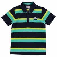 Lonsdale Детска Блуза С Яка Stripe Polo Junior Boys Navy/Teal Детски тениски тип поло
