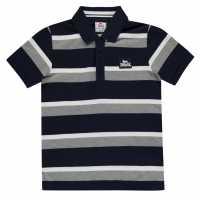 Lonsdale Детска Блуза С Яка Stripe Polo Junior Boys Navy/Grey/White Детски тениски тип поло