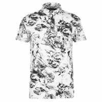 Firetrap Мъжка Блуза С Яка Printed Polo Shirt Mens Ecru Skull AOP Мъжки тениски с яка
