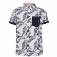 Soulcal Short Sleeve Shirt Junior Boys White Fern Детски ризи