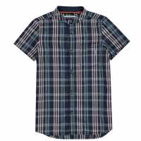 Soulcal Short Sleeve Shirt Junior Boys Pink Check Детски ризи