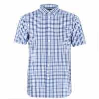 Pierre Cardin Мъжка Риза Къс Ръкав Short Sleeve Shirt Mens Blue/Navy Chk Мъжко облекло за едри хора
