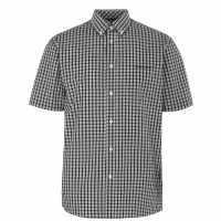 Pierre Cardin Мъжка Риза Къс Ръкав Short Sleeve Shirt Mens Black Check Мъжко облекло за едри хора