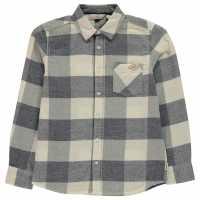 Lee Cooper Риза С Дълъг Ръкав Check Long Sleeve Shirt Junior Boys White/Blue Детски ризи