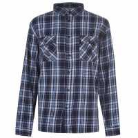 Firetrap Long Sleeve Twick Shirt Navy/Blue Мъжки ризи