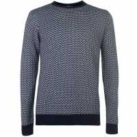 Soulcal Плетен Пуловер Deluxe Mixed Pattern Knit Jumper White/Navy Мъжки пуловери и жилетки