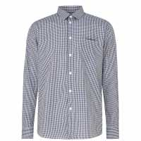 Pierre Cardin Риза С Дълъг Ръкав Long Sleeve Shirt Blk/Blue/Wht Мъжко облекло за едри хора