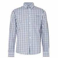Pierre Cardin Риза С Дълъг Ръкав Long Sleeve Shirt Navy/Blue/Wht Мъжко облекло за едри хора