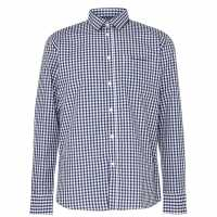 Pierre Cardin Риза С Дълъг Ръкав Long Sleeve Shirt Navy/White Мъжко облекло за едри хора