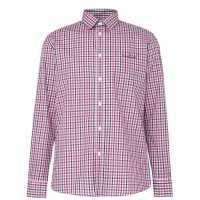 Pierre Cardin Риза С Дълъг Ръкав Long Sleeve Shirt Red/Navy/Wht Мъжко облекло за едри хора