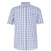 Pierre Cardin Short Sleeve Shirt Blk/Blue/Wht Мъжко облекло за едри хора