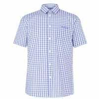 Pierre Cardin Short Sleeve Shirt Blue/White Мъжко облекло за едри хора