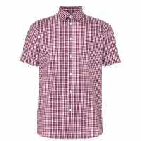 Pierre Cardin Short Sleeve Shirt Red/Navy/White Мъжко облекло за едри хора