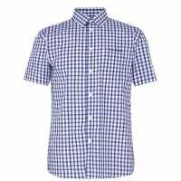 Pierre Cardin Short Sleeve Shirt Navy/Blue/Wht Мъжко облекло за едри хора
