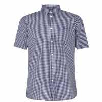 Pierre Cardin Short Sleeve Shirt Navy/White Мъжко облекло за едри хора