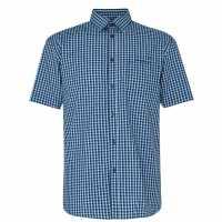 Pierre Cardin Short Sleeve Shirt Navy/Teal Мъжко облекло за едри хора