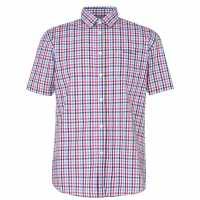 Pierre Cardin Short Sleeve Shirt Red/Blue Мъжко облекло за едри хора