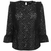 Golddigga Lace Blouse Ladies Black Дамски ризи и тениски