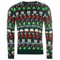 Star Мъжки Коледен Пуловер Xmas Fairisle Knitted Jumper Mens Green - Multi Коледни пуловери