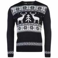 Star Мъжки Коледен Пуловер Xmas Fairisle Knitted Jumper Mens Navy - Reindeer Коледни пуловери