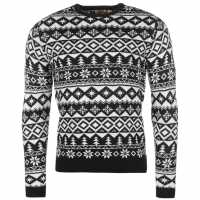 Star Мъжки Коледен Пуловер Xmas Fairisle Knitted Jumper Mens Navy/White Коледни пуловери