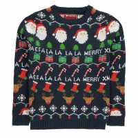 Star Xmas Knit Jnb84 Navy Fairisle Коледни пуловери