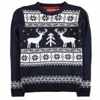 Star Детски Коледен Пуловер За Момчета Xmas Knitted Jumper Junior Boys Navy Коледни пуловери