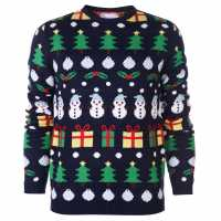 The Spirit Of Christmas Novelty Jumper Mens Navy Коледни пуловери
