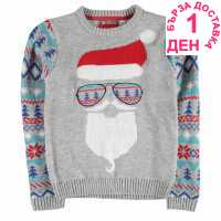 Star Детски Коледен Пуловер За Момчета Xmas Knitted Jumper Junior Boys Grey M - Santa Коледни пуловери