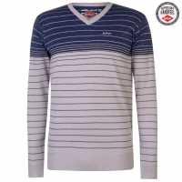 Lee Cooper Мъжки Пуловер V-Деколте Striped V Neck Jumper Mens Oatmeal M/Blu M Мъжки пуловери и жилетки