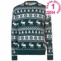 Star Мъжки Коледен Пуловер Christmas Knit Jumper Mens Green Fairisle Коледни пуловери