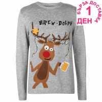 Star Мъжки Коледен Пуловер Christmas Knit Jumper Mens Brew Dolph Коледни пуловери