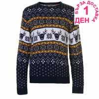 Star Мъжки Коледен Пуловер Christmas Knit Jumper Mens Navy Fairisle Коледни пуловери