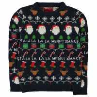 Star Плетен Пуловер Christmas Knit Jumper Junior Boys Navy Fairisle Коледни пуловери