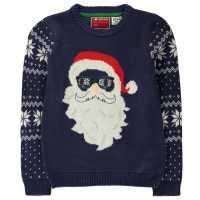 Star Плетен Пуловер Christmas Knit Jumper Junior Boys -Navy - Santa Коледни пуловери