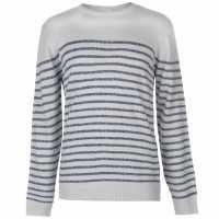 Lee Cooper Knitted Striped Jumper Mens Grey Marl Мъжки пуловери и жилетки